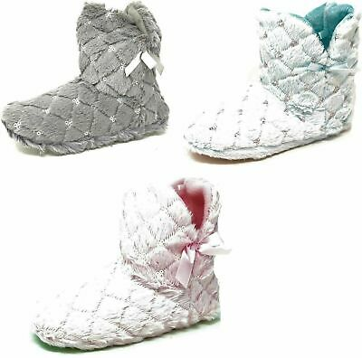 Ladies Teens Girls Grey Pink Blue Faux Fur Bootie Slippers Size Womens 3-8