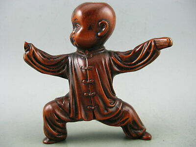 Antique Chinese Old Boxwood Hand Carved Kungfu Boy Statue