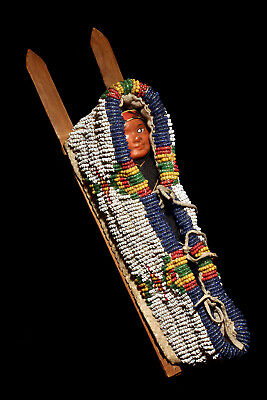 Authentic Antique Native American Sioux Beaded Hide Model Cradle Board; 1890!