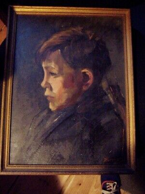 vintage 1945 Painting Portrait of Boy young man pensive look  signed Hersogo  ?