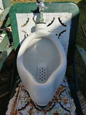 Antique Vintage 1941 Standard Wall Urinal Vitreous Porcelain & Valve - Man Cave