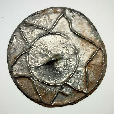 Bronze Mirror Star Solar sign 57mm. 500-900AD. Pendant Viking Rare