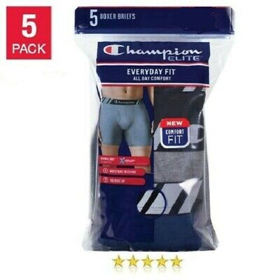 Champion Elite Men's X-Temp Double Dry Boxer Briefs with Moisture Wicking 5-pack