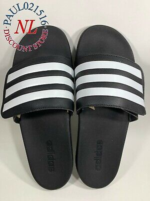 NEW Adidas Men's Adilette Slides Sandals Slide Slip-On ~ Black/White ~ Pick Size