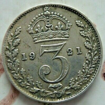 1921 SOLID SILVER ANTIQUE COIN 3d THREE PENCE ,GOOD CONDITION (476)