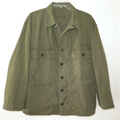 Vintage Original Ww2 Us Army Hbt Twill Herringbone Shirt 13 Stars Buttons Medium