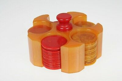 VTG Catalin Bakelite Marbleized Butterscotch Mini Poker Chip Set Caddy & Chips
