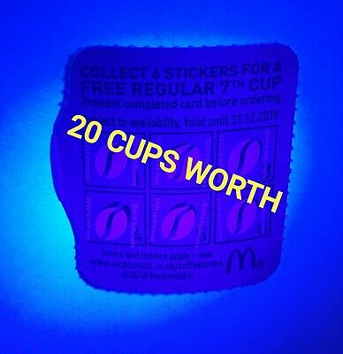 McDonald's Ultraviolet 120 Loyalty Coffee Stickers 31.12.2020  20 CUPS WORTH