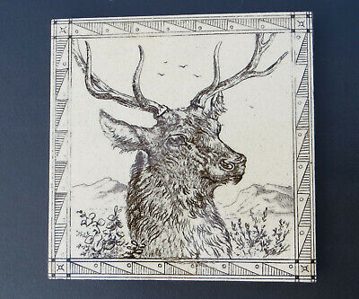 """Minton, Hollins & Co 6"""" Transfer Printed Tile - Stags Head with Border - Cream"""