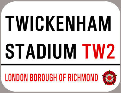 Twickenham Metal Football St Sign, A4 Size, Rounded Edges,4 Holes. England Rugby