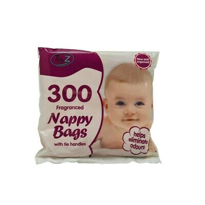 600x Disposable Nappy Bags Fragranced Diaper Bag Hygienic Nappy Sacks Tie Handle