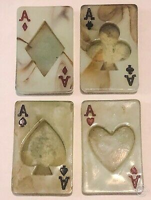 1930's-40's ART DECO GREEN JADE Stone Table Top 4 ACES HEART CLUB SPADE DIAMOND
