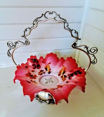 Forbes Silver Co Quadruple Silver Plated Bridal Basket w Hand Painted Bowl