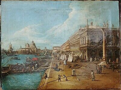 Antique Large Oil On Canvas Painting Of Venice