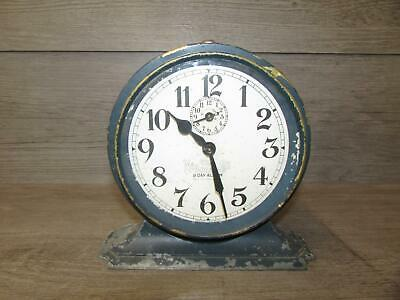 Vintage Antique National Call 8 Day Alarm Clock Blue Gray Tested