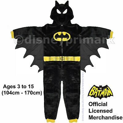 OFFICIAL BATMAN ONESY Child Pyjama Halloween XMas Costume All-In-One Sleepsuit