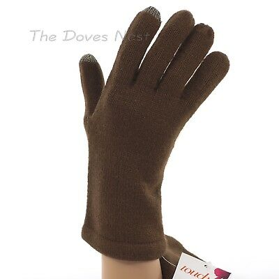 TOUCH & GO Women's LIGHTWEIGHT Knit BROWN Winter GLOVES One Size TOUCH SCREEN