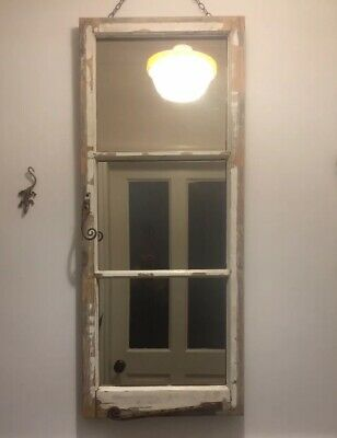 antique Window Mirror,edwardian Lite With Rose Tint Reclaimed Mirror