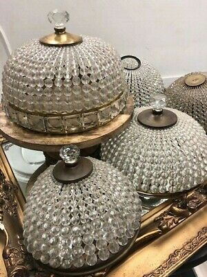 Antique Beaded Dome Lamp Shades, Lot Of 5!!!