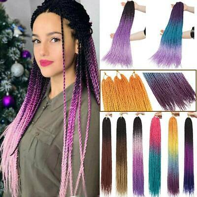 US Post 1/3/5 Packs Small Long Ombre Senegalese Twist Purple Hair Extensions H45