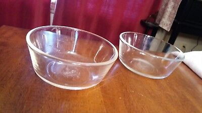 "2 Clear Small Bowls--Fire-King by Anchor Hocking--4 1/2"" x 2"", 10 oz, #428"