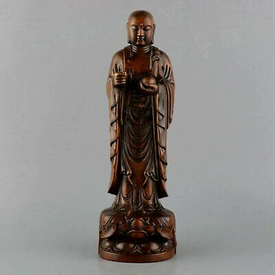 Collect China Old Boxwood Hand-Carved Xuan Zang Wizard Precious Buddhism Statue