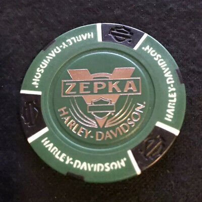 Johnstown, Pennsylvania Harley Davidson Poker Chip / Green & Black Small Scratch