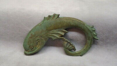 Small Antique Solid Brass Dolphin W/Nice Coating Of Verdigris Part Removed From?