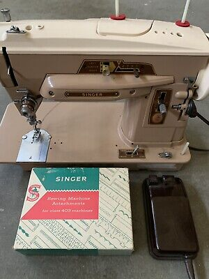 Vintage Singer 403A Slant O Matic Sewing Machine w/ Foot Pedal, Etc. ~ Runs Well
