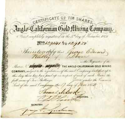 1853 Anglo-Californian Gold Mining Stock Certificate