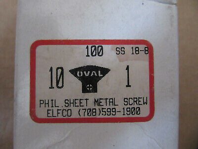 "(100) #10 X 1"" Stainless Philips Oval Head Sheet Metal Screws NEW!!! Free Ship"