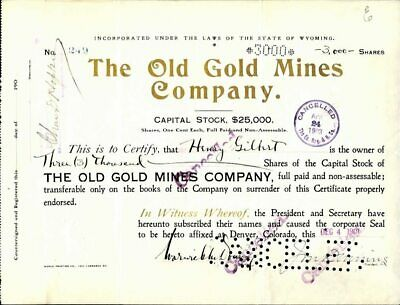 Cripple Creek, Co., Old Gold Mines Company, 1901, Cancelled Stock Certificate