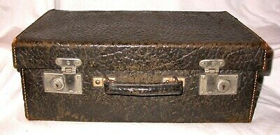 "Vintage Antique Black Textured Leather Doctor's Bag Suitcase Medicine Case 15"" w"