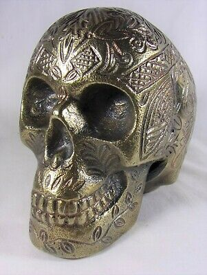 Vintage Antique style Solid Brass Skull Head Statue Filigree Scroll Halloween **