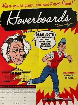 1985 Back To The Future Mattel Hoverboards Ad > Print > Marty McFly > Delorean