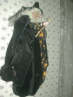 """OLD 15"""" HANGING WITCH Halloween FLYING WITCH BLACK VELVET LINED CAPE WOOL HAIR"""