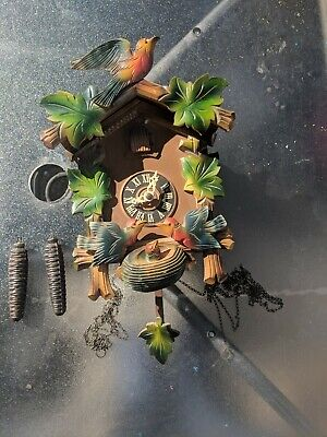 Vintage Cuckoo Clock made in Germany birds feeding