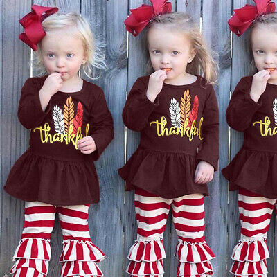 Infant Toddler Baby Girls Letter Christmas Tops Blouse Flare Striped Pant Outfit