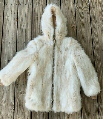 Vintage 1970s Girl's Faux Fur Winter Coat Yeti Shaggy plush white size L hood