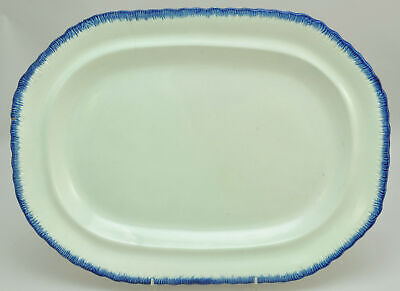 Antique Leeds Oval Cobalt Blue Feather Edge Pearlware 17 Inch Platter circa 1820