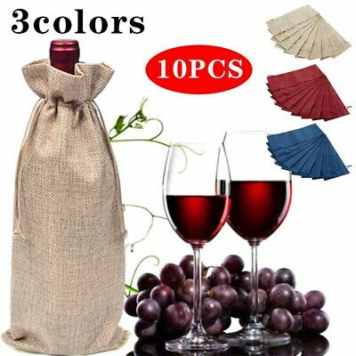 10x Rustic Natural Jute Burlap Wine Bags Drawstring Hessian Bottle Gifts Cover