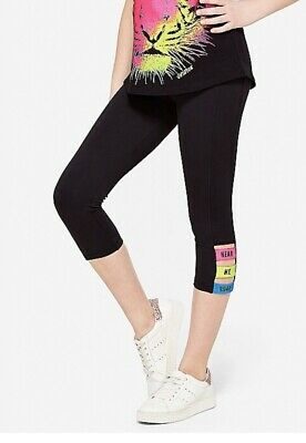 Girls Justice 14 16 Hear Me Roar Tank Top Matching Capri Leggings Black Neon