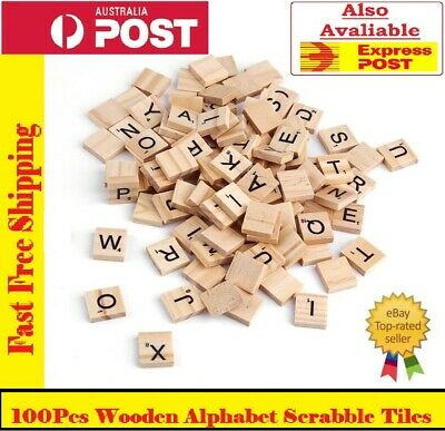 100 Wooden Alphabet Scrabble Tiles Black Letters & Numbers For Crafts Wood Sell