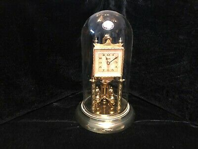 Schatz Square Face Anniversary Clock With Glass Dome - Working