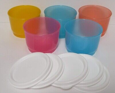 Tupperware FIVE 4-oz SNACK CUP Containers MULTI-COLORED w/ WHITE TABBED SEALS