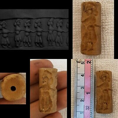 Ancient Old white Agate Stone Stamp Beads with Human figure Roman Worrier