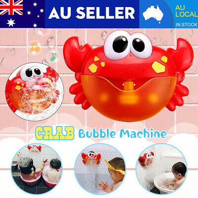 AU Kid Bubble Crab Maker Machine Adorable Baby Music Shower Toy w/3 Suction