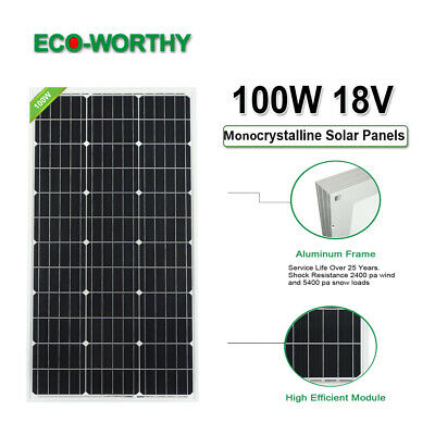 100W 12V Pannello solare off /on Grid Solar System Home Cabin RV Boat Charger