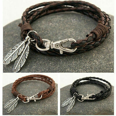Mens Womens Surfer Patrol Leather Bracelet Feather Clasp Cord Wristband Gift Box