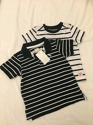 Boys T Shirts Age 12 to 18 months navy blue & white nautical look Mothercare New